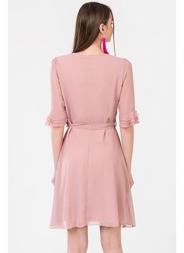 İroni İspanyol Kol Şifon Elbise Pudra